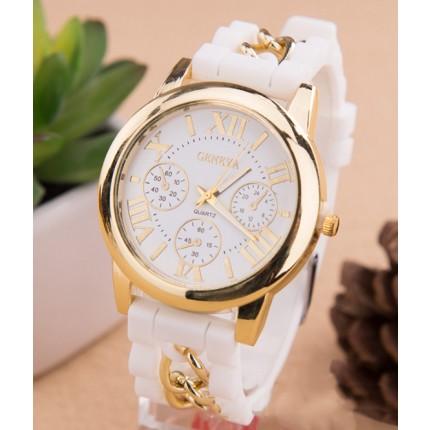 Часы Женева с силиконовым ремешком и цепочкой Белые