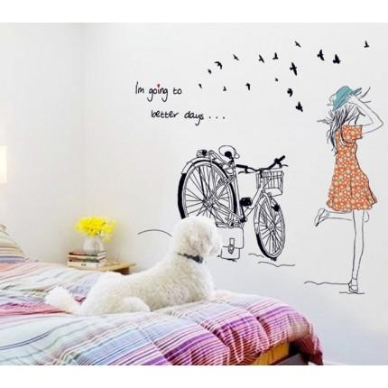 Интерьерная наклейка на стену Парижанка (MJ7008)