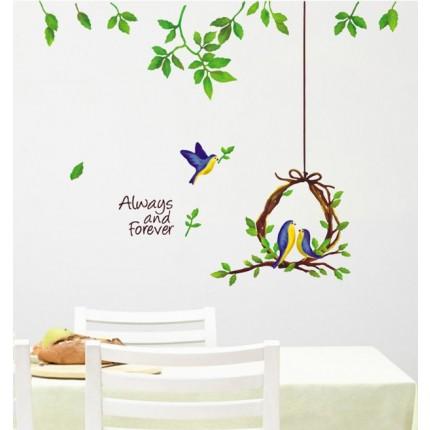 Интерьерная наклейка на стену Птицы Семья  XC1703