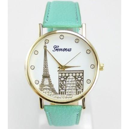 Часы Женева Geneva Эйфелева башня Мята