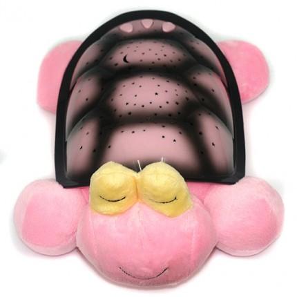 Проектор звездного неба, ночник Большая музыкальная Черепаха (розовая)