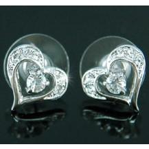 Серьги 1.5 Carat Heart Earrings use Swarovski Crystal SE141