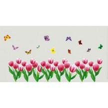 Интерьерная наклейка на стену Тюльпаны