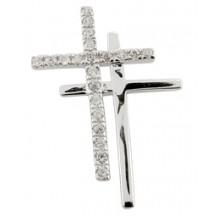 Двойной серебряный крестик с цирконами (родирован)