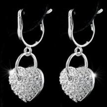 Серьги Dangle Heart Earrings use Swarovski Crystal SE263