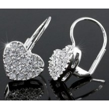 Серьги Dangle Heart Earrings use Swarovski Crystal SE279