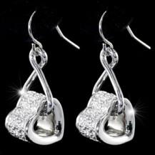Серьги Dangle Heart Earrings use Swarovski Crystal SE284