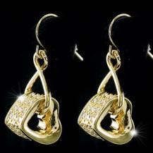 Серьги Dangle Heart Gold Plated Earrings w/ Swarovski Crystal SE269
