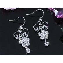 Серьги Dangle Love Heart Earrings use Swarovski Crystal SE373