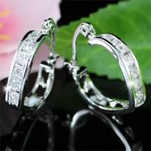 Серьги Heart Cubic Zirconia Bling Huggie Earrings SE250