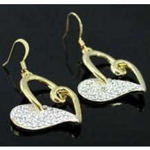 Серьги Heart Gold Plated Earrings use Swarovski Crystal SE181