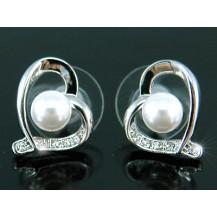 Серьги Heart Shell Pearl Earrings use Swarovski Crystal SE144