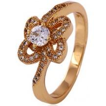 Позолоченное кольцо с цирконами, размер 16 (GF49)
