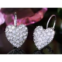 Серьги White Gold Plate Heart Earrings use Swarovski Crystal SE106