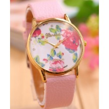 Часы наручные женские Женева Цветы розовый ремешок