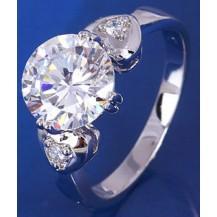 Кольцо белая позолота, цирконы (GF87) размер 17