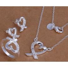 Набор Tiffany 925 (серьги, кольцо 18р, кулон, цепочка) TF96