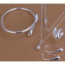 Набор Tiffany 925 (браслет, серьги, кольцо 18р, кулон, цепочка) TF103