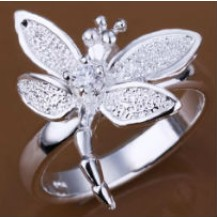 Кольцо Стрекоза Tiffany Размер 18 (TF72). Покрытие серебром 925