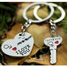 Парные брелки для влюбленных - Сердце с ключом