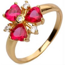 Кольцо позолота Gold Filled с рубиновыми цирконами (GF462) Размер 17