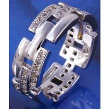 Кольцо Звенья белая позолота Gold Filled с цирконами (GF473) Размер 17