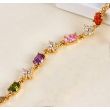 Браслет позолота Gold Filled с разноцветными цирконами (GF491