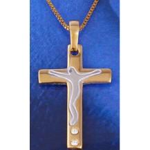 Крестик позолота Gold Filled с цирконами (GF457)