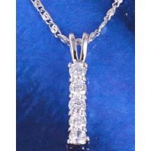 Кулон белая позолота Gold Filled 5 цирконов (GF489