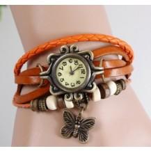 Часы браслет с бабочкой (цвет рыжий)