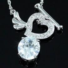 Кулон 6 Carat CZ Heart Necklace use Swarovski Crystal SN233