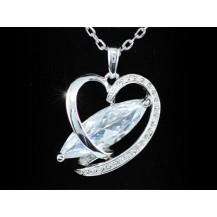 Кулон 8 Carat CZ Simulated Diamond Heart Necklace SN271