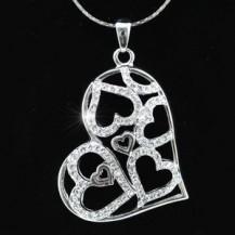 Кулон 3D Heart Pendant Necklace use Swarovski Crystal SN150