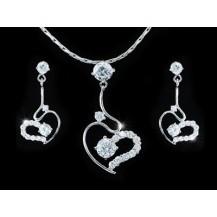 Набор 4 Carat CZ Simulated Diamond Heart Necklace Earrings Set SN265