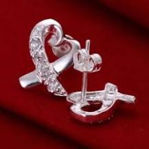 Серьги гвоздики сердечки Tiffany (TF114). Покрытие серебром 925