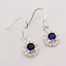 Серьги c синими цирконами Tiffany (TF118). Покрытие серебром 925