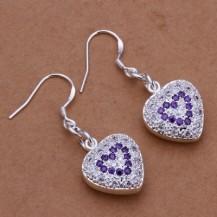 Серьги Сердечки аметистовые Tiffany (TF128). Покрытие серебром 925