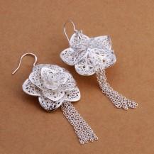 Серьги Цветок длинные Tiffany (TF129). Покрытие серебром 925