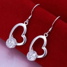 Серьги сердечки Tiffany (TF134). Покрытие серебром 925