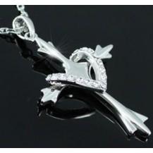 Кулон Cross Heart Love Necklace use Swarovski Crystal SN090