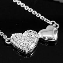 Кулон Double Heart Necklace use Swarovski Crystal SN214