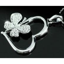 Кулон Butterfly Heart Necklace use Swarovski Crystal SN124