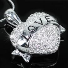Кулон Love Heart Pendant Necklace use Swarovski Crystal SN236
