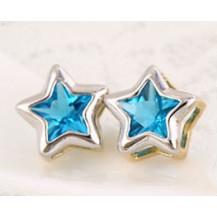 Серьги позолота гвоздики Звезды с голубым цирконом (GF498