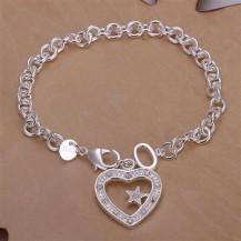 Браслет с сердцем Tiffany (TF-H028). Покрытие серебром 925