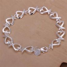 Браслет сердечки Tiffany (TF-H177). Покрытие серебром 925