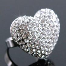 Кольцо Sparkling 3D Heart Bling Ring use Swarovski Crystal SR058