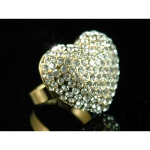 Кольцо Sparkling 3D Heart Gold Ring use Swarovski Crystal SR047