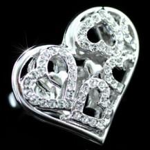 Кольцо 3D Hearts Ring use Swarovski Crystal SR092