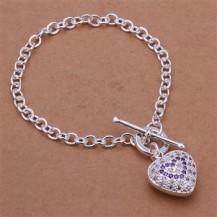 Браслет с аметистовым сердечком Tiffany (TF-H307). Покрытие серебром 925